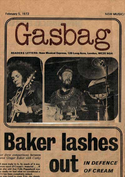 Ginger Baker defends Cream