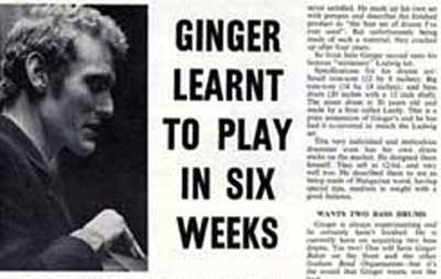 Ginger Baker learnt to play in six weeks